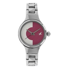 Fastrack Spiked White Pink Dial Analog Watch for Women