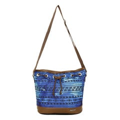 Fastrack Blue & Brown Canvas Bag for Women