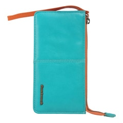 Fastrack Green Leather Wrist Wallet for Women with Zipper Closure