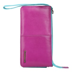 Fastrack Pink Leather Wrist Wallet for Women with Zipper Closure