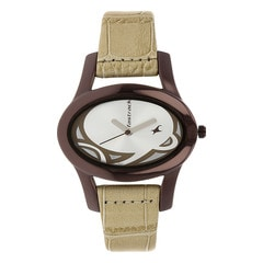 Fastrack Silver Oval Dial Analog Watch for Women