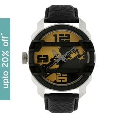 Fastrack MotorheadsBlack and Yellow Dial Analog Watch for Men
