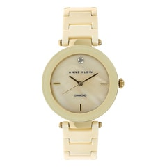 Anne Klein Golden Mother of Pearl Dial Analog Watch for Women
