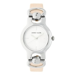 Anne Klein Silver Dial Leather Strap Watch for Women