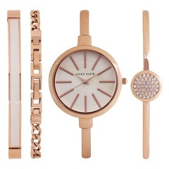 Anne Klein Off-White Mother of Pearl Dial Analog Watch for Women with Additional Stack Bracelets