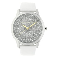 FCUK Silver Dial Leather Strap Watch for Women