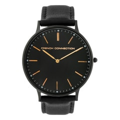 FCUK Black Dial Leather Strap Watch for Men