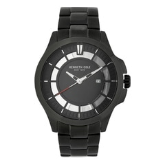 Kenneth Cole Black Dial Metal Strap Watch for Men