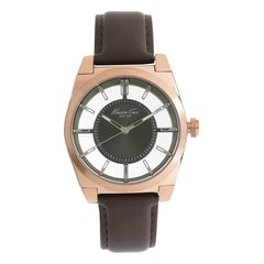 Kenneth Cole Grey Dial Leather Strap Watch for Men