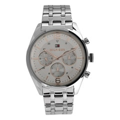 Tommy Hilfiger Silver Dial Chronograph Watch for Men