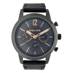 Police Blue Dial Leather Strap Watch for Men
