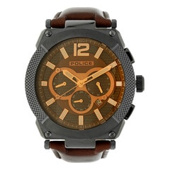 Police Brown Dial Leather Strap Watch for Men