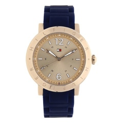Rose Gold Dial Plastic Strap Watch