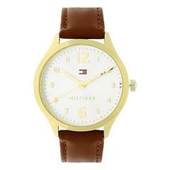 Tommy Hilfiger White Dial Leather Strap Watch for Women