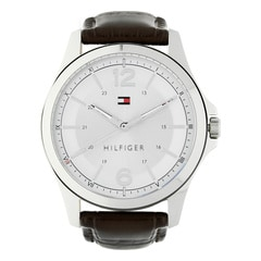 Tommy Hilfiger White Dial Leather Strap Watch for Men