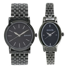 Sonata Black Dial Analog Watch For Pair-11418100NM01