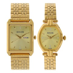 Sonata Champagne Dial Analog Watch for Pair-70078083YM02