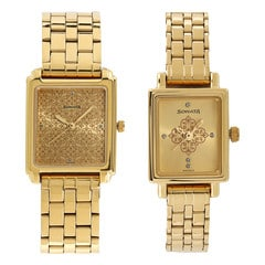 Sonata Champagne Dial Analog Watch for Pair