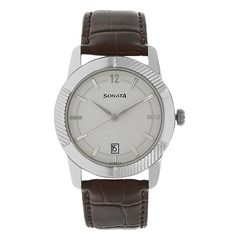 Sonata Elite Silver-White Dial Analog Watch for Men-7100SL02