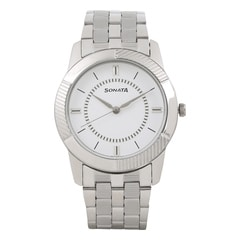 Sonata White Dial Analog Watch for Men-7100SM03