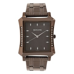 Sonata Brown Dial Analog Watch For Men-7106QM01