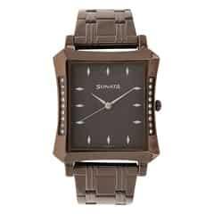 Sonata Brown Dial Analog Watch For Men-7106QM01