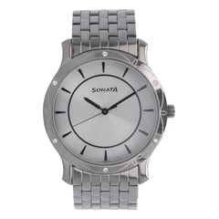 Sonata Silver Dial Analog Watch For Men-7107TM01