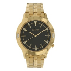 Sonata Glamors Black Dial Analog Watch for Men-7111YM02
