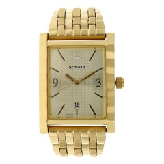 Sonata Glamors Champagne Dial Analog Watch for Men