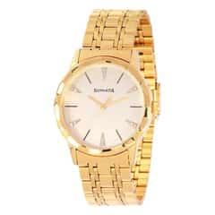 Sonata Glamors Gold Dial Analog Watch for Men-7113YM02
