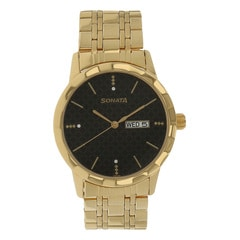 Sonata Glamors Black Dial Analog Watch for Men-7113YM05