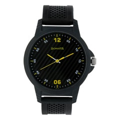 Sonata Black Dial Analog Watch for Men