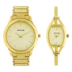 Sonata Beige Dial Analog Pair Watches