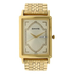 Sonata Champagne Dial Analog Watch For Men-77003YM06