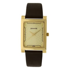 Sonata Champagne Dial Analog Watch For Men-77036YL02J