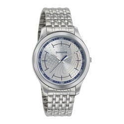 Sonata Nxt Silver White Dial Analog Watch for Men