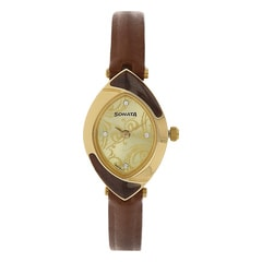 Sonata Elite Champagne Dial Analog Watch for Women-8069YL03