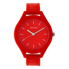 Sonata Red Dial Analog Watch for Girls