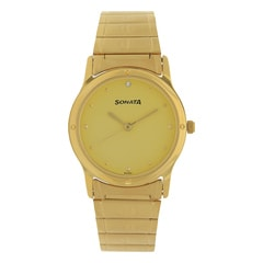 Sonata Champagne Dial Analog Watch For Men-NC7023YM02
