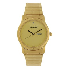 Sonata Champagne Dial Analog Watch For Men-NC7023YM09