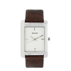 Silver Dial Leather Strap Watch