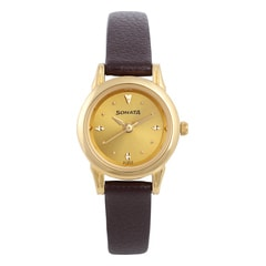 Sonata Champagne Dial Analog Watch For Women-N8925YL02