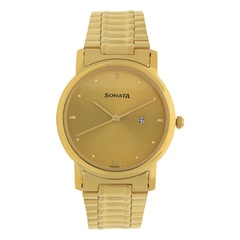 Sonata Champagne Dial Analog Watch For Men-NF1013YM15