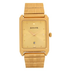 Sonata Champagne Dial Analog Watch For Men-NF7007YM02A