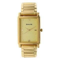 Sonata Champagne Dial Analog Watch For Men-NF7058YM02A