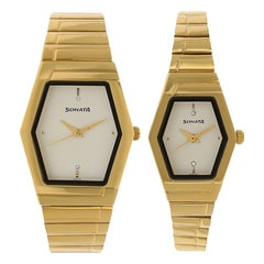 Sonata Gold Dial Analog Watch For Pair-NF70838074YM01