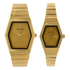 Sonata Champagne Dial Analog Watch For Pair-NF70838074YM02