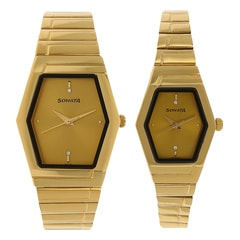 Sonata Champagne Dial Analog For Pair