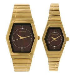 Sonata Brown Dial Analog Watch for Pair