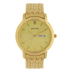 Sonata Champagne Dial Analog Watch For Men-NF7954YM02J
